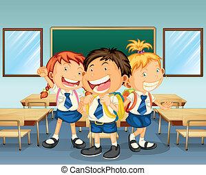 wnętrze, klasa, uśmiechanie się, trzy dzieci