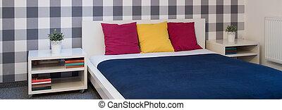 wnętrze, nowoczesny, łóżko, sypialnia