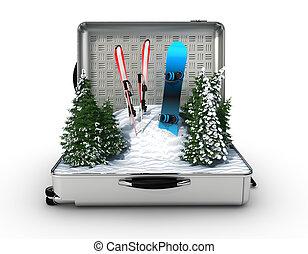 wnętrze, snowboard, narta, śnieg, walizka