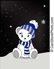 wnite teddy bear in a blue cap and a scarf
