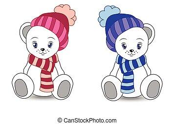 wnite teddy bear in a cap and a scarf