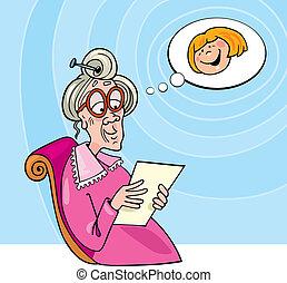 wnuczka, czytanie litera, babunia