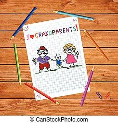wnuk, barwny, dzieci, powitanie, ręka, wektor, razem., babunia, pociągnięty, dziadunio, karta