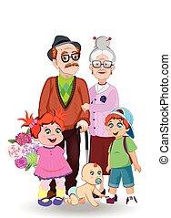 wnuk, dziadek, razem, wnuczka, babcia, niemowlę