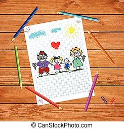 wnuki, barwny, dziadkowie, ilustracja, ręka, wektor, pociągnięty, dzieci