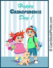 wnuki, bukiet, dziadkowie, przedstawia się, kwiaty, dzień, celebrowanie