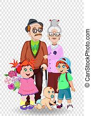 wnuki, dziadkowie, ilustracja, wektor, razem., rysunek