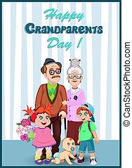 wnuki, dziadkowie, para, powitanie, starszy, razem., dzień, karta, szczęśliwy