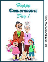 wnuki, dziadkowie, powitanie, razem., dzień, karta, szczęśliwy