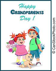 wnuki, dziadkowie, przedstawia się, grono, kwiaty, dzień, celebrowanie