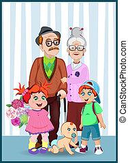 wnuki, dziadkowie, razem, wektor, ilustracja, rysunek
