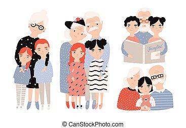 wnuki, dziadkowie, set., ręka, collection., ilustracje, pociągnięty, rysunek, szczęśliwy