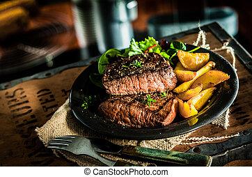 wołowina, zdrowy, warzywa, chudy, opieczony, stek