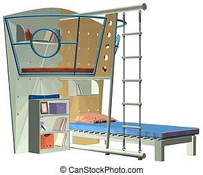 wo..., childrens, cama, dormitorio