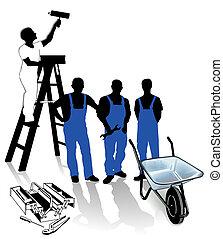 wo, constructeur, ouvrier, peintre