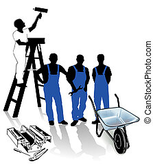 wo, constructor, obrero, pintor