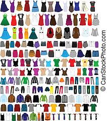 wo, mannen, set, groot, kleren