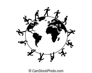 wo, símbolo, executando, ao redor, pessoas
