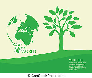 wo, sparen, ecologisch, vector, -