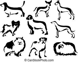 Wobbly Brush Dogs - line art