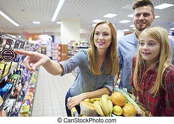 wochenende, shoppen, alles zusammen, mit, familie