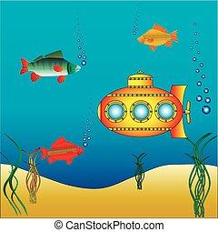 woda, łódź podwodna, żółty, pod