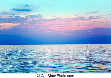 woda, śródziemnomorski, wschód słońca, horyzont, morze