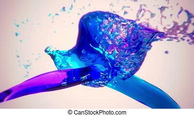 woda, alfa, bryzgając, barwny, cha