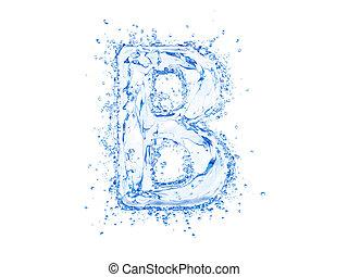 woda, b, litera, bryzg