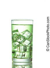 woda, biały, kostki, tło, lód