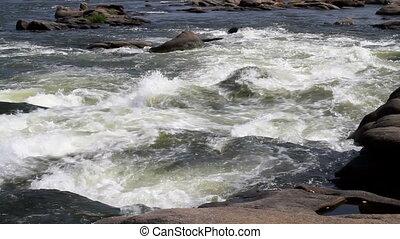 woda, biały, spływa