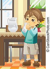 woda, chłopiec, picie