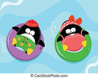 woda, cieszący się, pingwiny