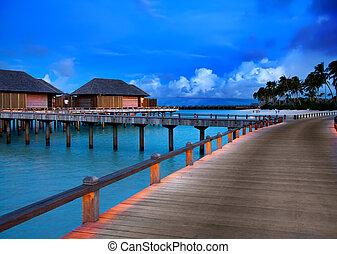 woda, czas, maldives., zachód słońca, kupy, domy
