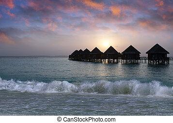 woda, czas, willa, sunset., maldives., kupy