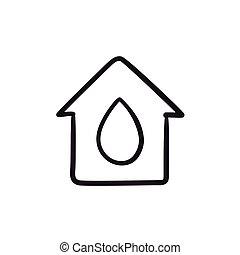 woda, dom, rys, kropla, icon.