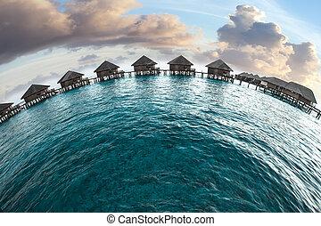 woda, domy, maldives., kupy