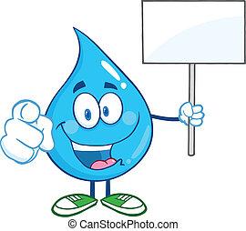 woda, dzierżawa, znak, kropla, do góry, czysty