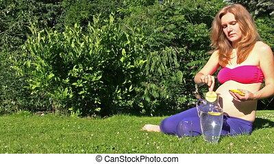 woda, dziewczyna, napój, brzemienny, lemo