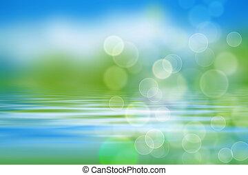 woda, fale, tło, ziele, natura