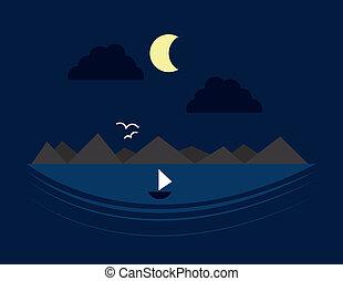 woda, góra, scena, noc