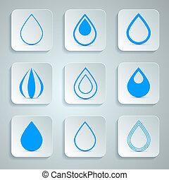 woda, ikony, komplet, wektor, krople