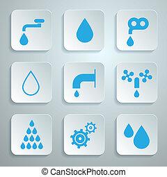 woda, ikony, symbolika, -, komplet, wektor