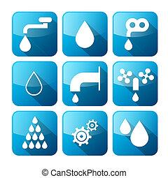 woda, ikony, symbolika, pikolak, -, komplet, wektor