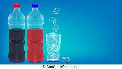 woda, ilustracja, błękitny, ice., tło., butelka, realistyczny, kopia, wektor, eps10, iskrzasty, przestrzeń, szkło
