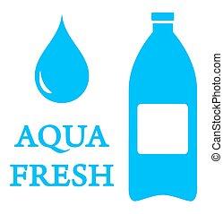 woda kapią, aqua, butelka, ikona