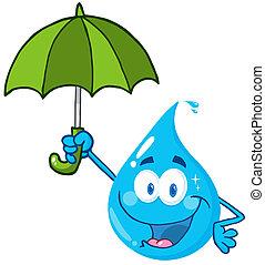 woda kapią, parasol