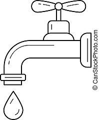 woda kapią, rura, wektor, czysty, kreska, icon.