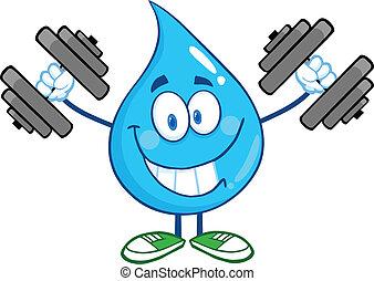 woda kapią, uśmiechanie się, dumbbells