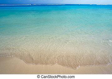 woda, karaibski, turkus, plaża, struktura